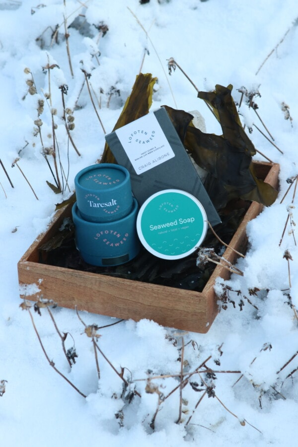Seaweed products in gift basket with sprinkles, soap and sugar kelp chocolate